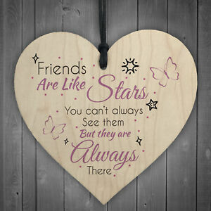 Best Friends Are Like Stars Friendship Sign Wood Heart Plaque Gift Thank You