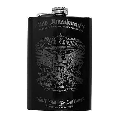 8oz BLACK 2nd Amendment Flask L1