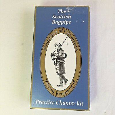 608f0f5332f2 Scottish Bagpipe Practice Chanter Kit Box Reeds Cassette Tutor Manuel  Vintage