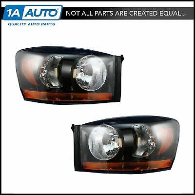 Headlight Headlamp w/ Black Bezel LH & RH Pair Set for 06-08 Dodge Ram Truck
