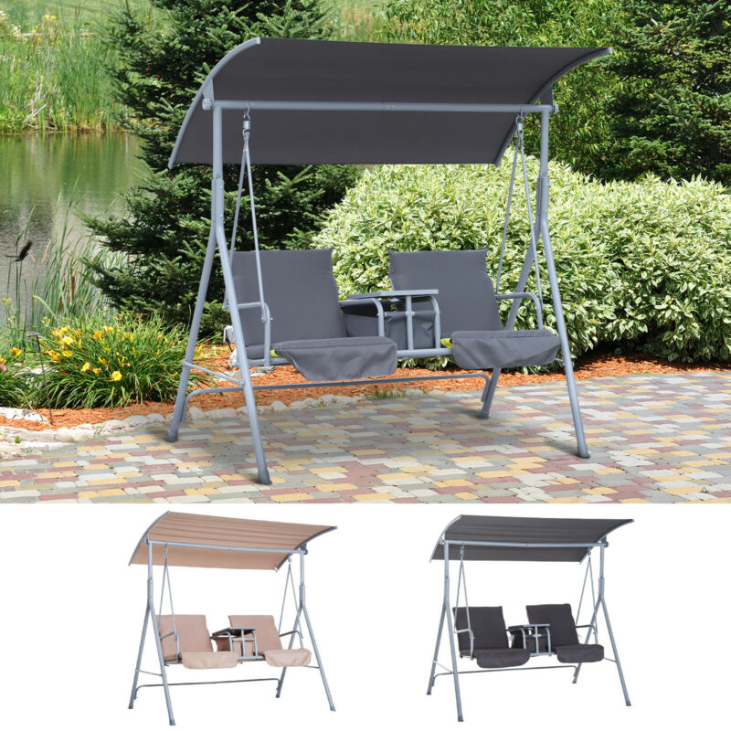 Outdoor Swing Chair Canopy Patio Garden Hanging 2 Person Yard Porch Furniture
