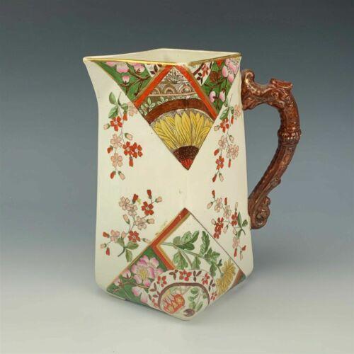 ANTIQUE 19TH C KENSINGTON RIDGWAYS ENGLISH PORCELAIN FLORAL W/ GOLD PITCHER JUG