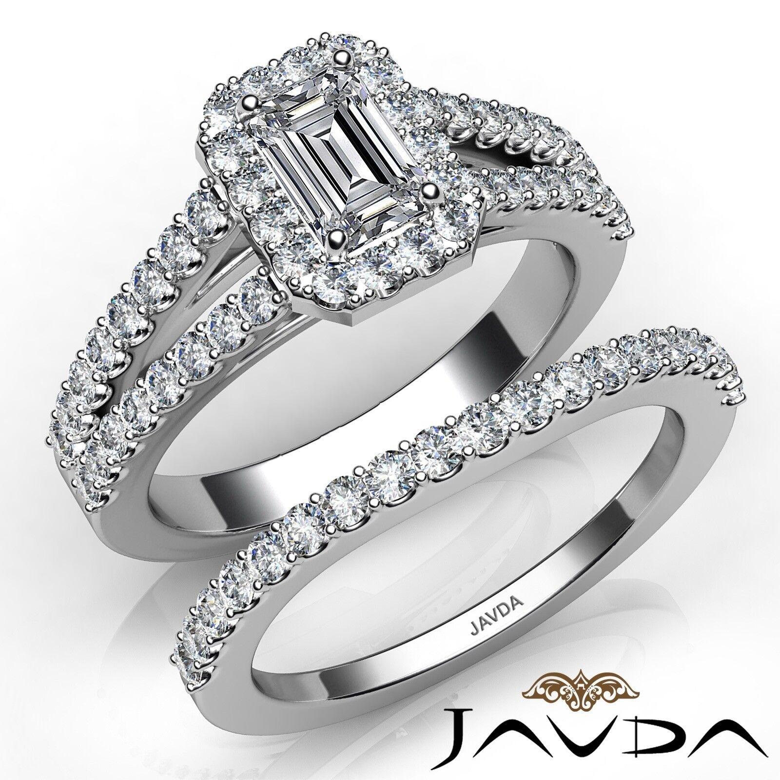 1.75ctw Halo Sidestone Bridal Emerald Diamond Engagement Ring GIA H-VS2 W Gold