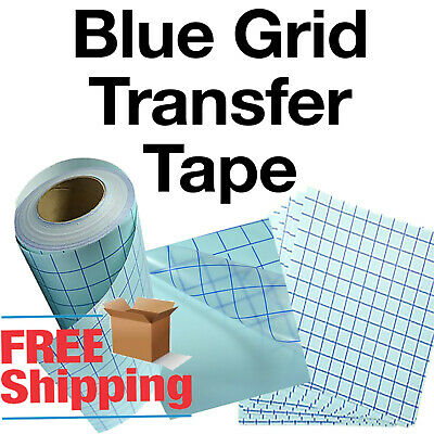 Blue Grid Clear Transfer Paper Tape Vinyl Crafts - 1 roll 12
