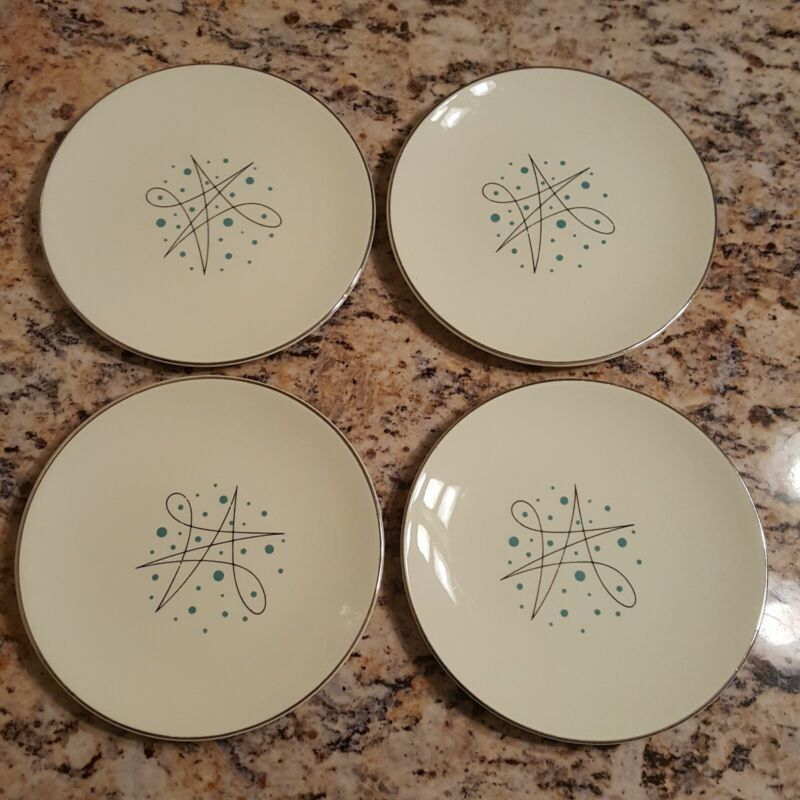 """4 Vintage Knowles Simplicity 6"""" Bread Appetizer Atomic Plates Silver Blue Dot"""