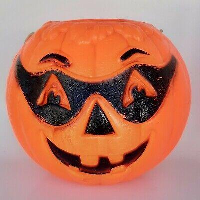 Halloween Masked Pumpkin Jack-O-Lantern Blow Mold Candy Pail Bucket VINTAGE