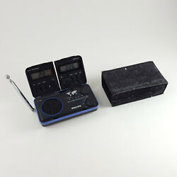 Vintage PHILIPS D1868 Travel Folding FM Radio Dual World Time Alarm Clock w/Case