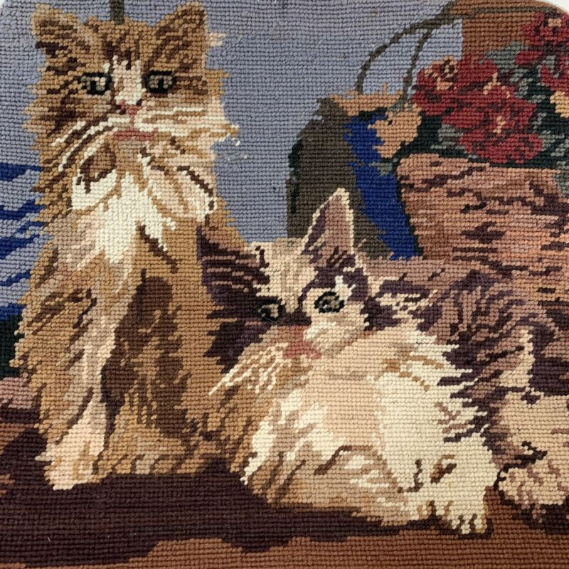 "Cat Kitten Friends Needlepoint Pillowcase 14"" Square Velveteen Back w/Zipper"