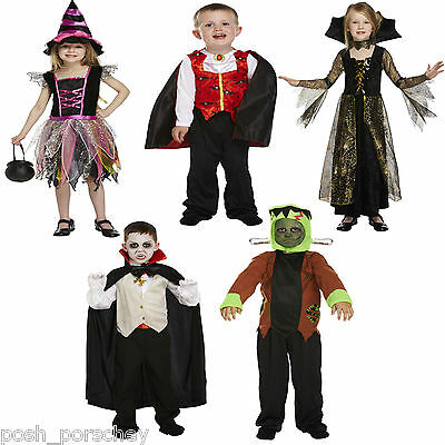 Scary Halloween Boys Girls Kids Costumes Witch Vampire Devil Spider Fancy Dress