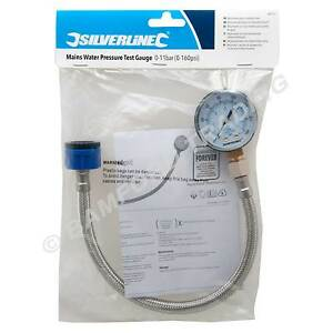Silverline Mains Water Pressure Test Gauge Plumbing Tester 0-11bar (0-160psi)