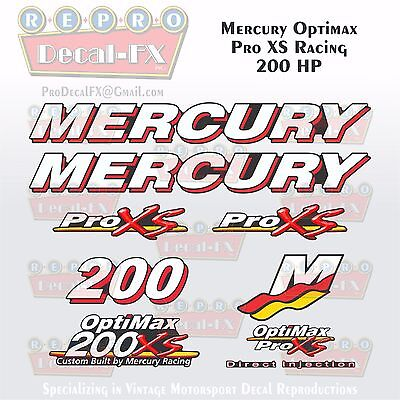 Mercury Marine Racing Optimax Pro XS 200HP Outboard Reproduction Decals 9 Pc