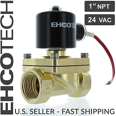 1 Npt 24vac Electric Solenoid Valve Brass Water Air Gas 24-volt Ac Nc 1 Inch