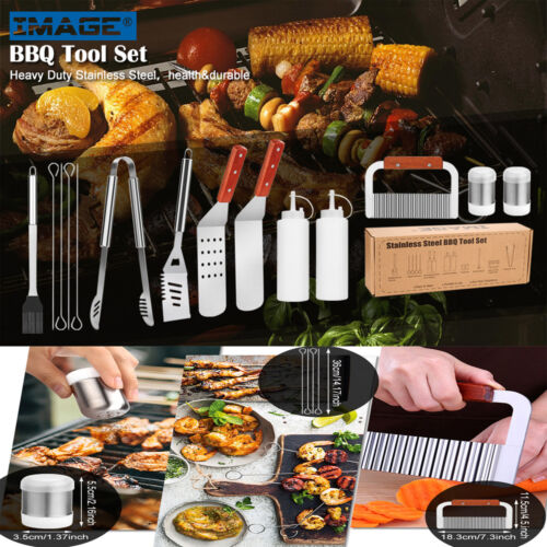 14Pc BBQ Grilling Tool Set Griddle Spatula Grill Accessories