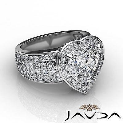 2.5 ct Halo Pave 14k White Gold Heart Diamond Engagement Bridal Ring I SI1 GIA 2