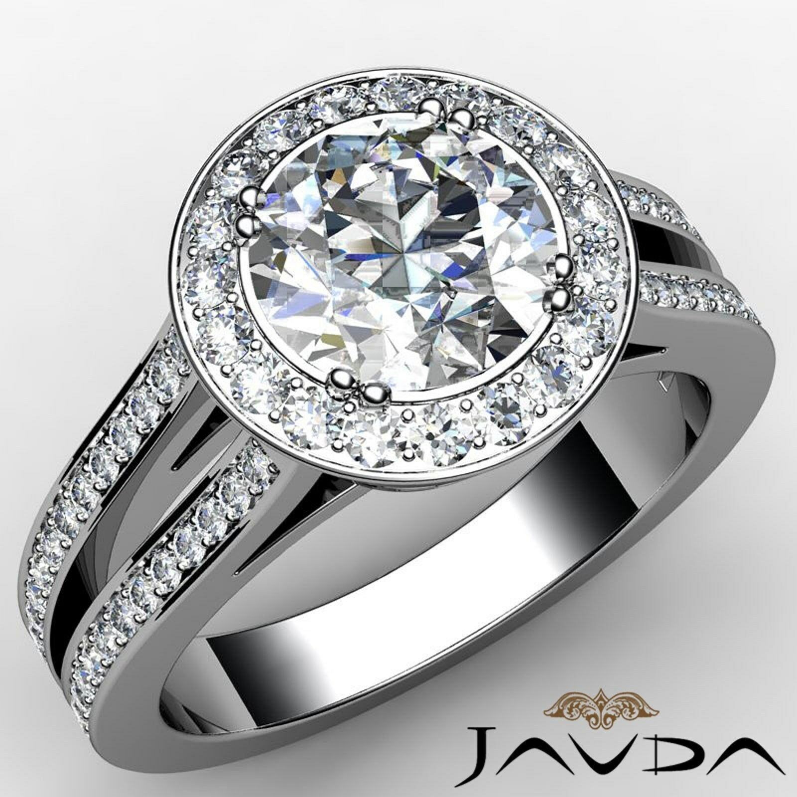 Halo Filigree Round Diamond Engagement Double Prong Ring GIA G Color VS1 2.35 Ct