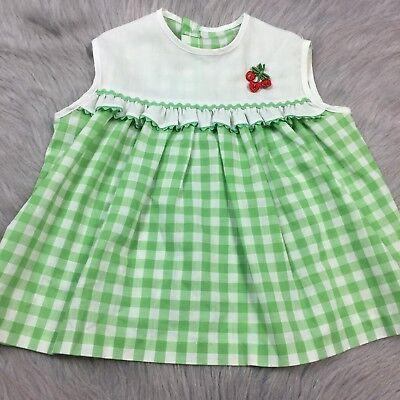 Vintage 1960s Baby Girls Green White Checkered Cherry Mod Dress