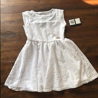 DKNY Girls White Dress Lace Sleeveless 4T