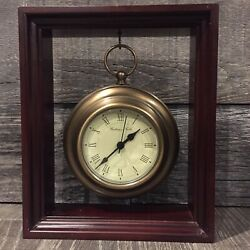 "❤️ BOMBAY COMPANY 9"" Mahogany Frame Small Brass Clock Mantel Desk Bookcase Decor"