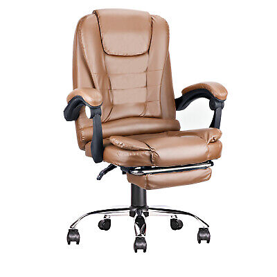 Ergonomic High-back Office Computer Chair Pu Leather 360 Swivel Footrest