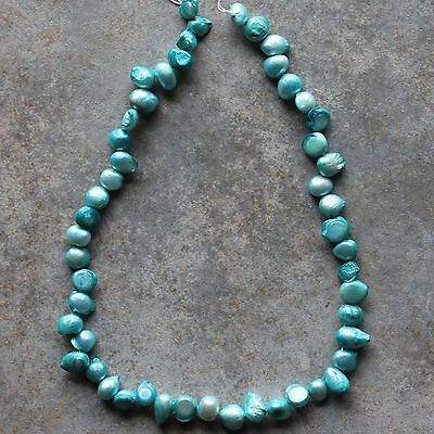 "Natural Freshwater Pearl Aqua Blue Baroque Loose Beads 15"" strand"