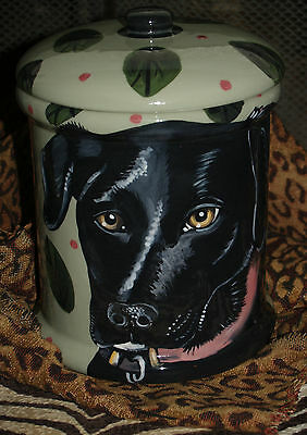 Custom Ceramic DOG TREAT Cookie Jar black labrador LAB  any BREED large Unique