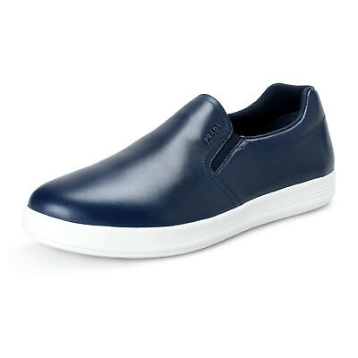 Prada Men's Navy Blue 4D3378 Leather Loafers Slip On Shoes (Navy Blue Pradas)