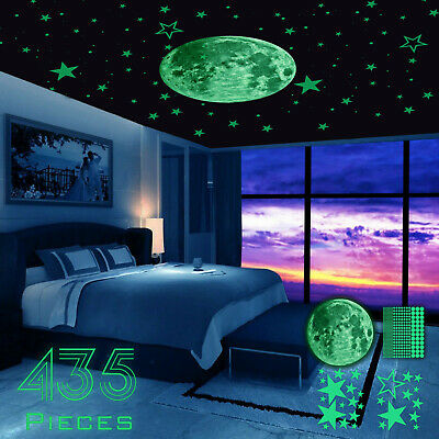 Home Decoration - 435Pcs Glow In The Dark Luminous Stars & Moon Planet Space Wall Stickers Decal