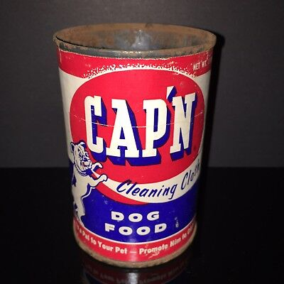 BEST IN SHOW! Cap'n 1940s Dog Food Tin Can BULLDOG Paper Label Old Pet