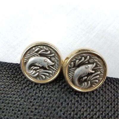 Anson Signed Fish Cufflinks 1950s Mid Century Art Deco Circle Two Tone Bass - Bass Fish Costume