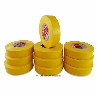 10 Rolls Yellow Vinyl Pvc Electrical Tape 34 X 66 Adhesive - Free Shipping