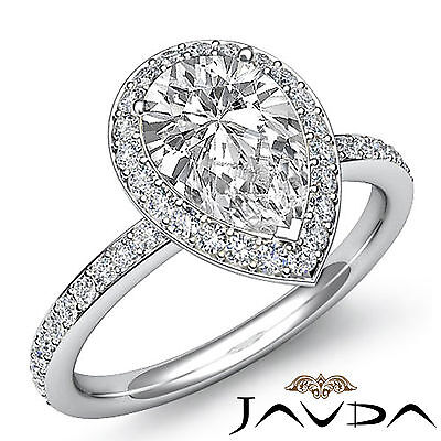 Halo Pear Diamond Engagement Pave Ring Certified by GIA I Color SI1 Clarity 2Ct
