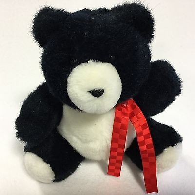 Hallmark Heartline 1990 Black White Traditional Plush Teddy Bear Stuffed Toy Bow