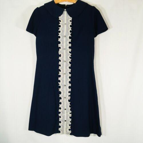 Vtg Sheath Dress Small  Ruffle Front blue sHift womens Retro 60