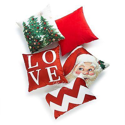 Hofdeco Love Christmas Tree Santa Claus Throw Pillow Case Cushion Cover Holiday ()