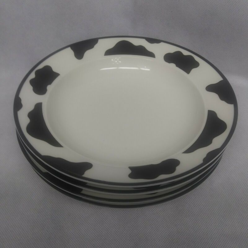 Tienshan Intro Stoneware Spotted Cow Rimmed Soup Bowls Set of 4 7 7/8""