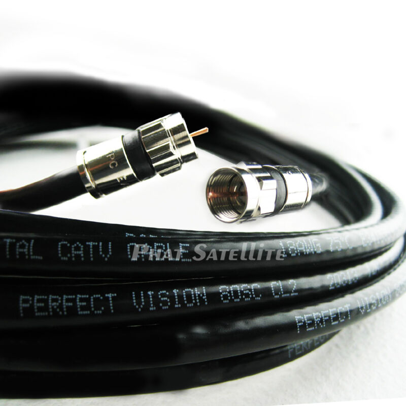 50ft PERFECT VISION SOLID COPPER 3GHZ 75 Ohm COAXIAL RG6 DIRECTV APPROVED CABLE