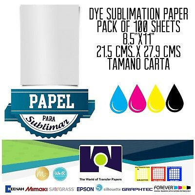 100 Sheets A 8.5 X 11 Sublimation Ink Heat Transfer Paper For Inkjet Printer