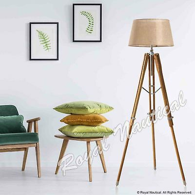 Tripod Floor Lamp Without Shade Wooden Vintage Style LED Teak Wood Light Decor.