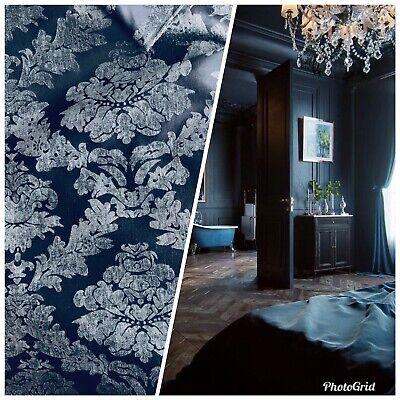 NEW Designer Velvet Chenille Burnout Damask Upholstery Fabric - Navy Blue S1 - Navy Blue Chenille