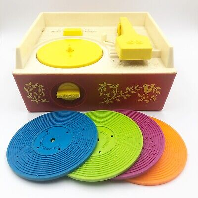 Vintage 1971 Fisher Price 995 Music Box Record Player With 4 Records