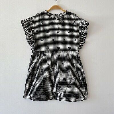 Zara Embroidered Gingham Ruffled Sleeves Short Casual Dress Size S