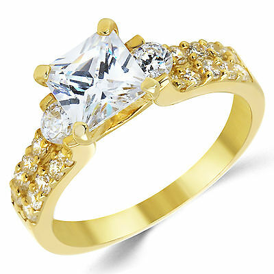 14K Solid Yellow Gold CZ Cubic Zirconia Three Stone Engagement Ring Gold Cubic Zirconia Trio