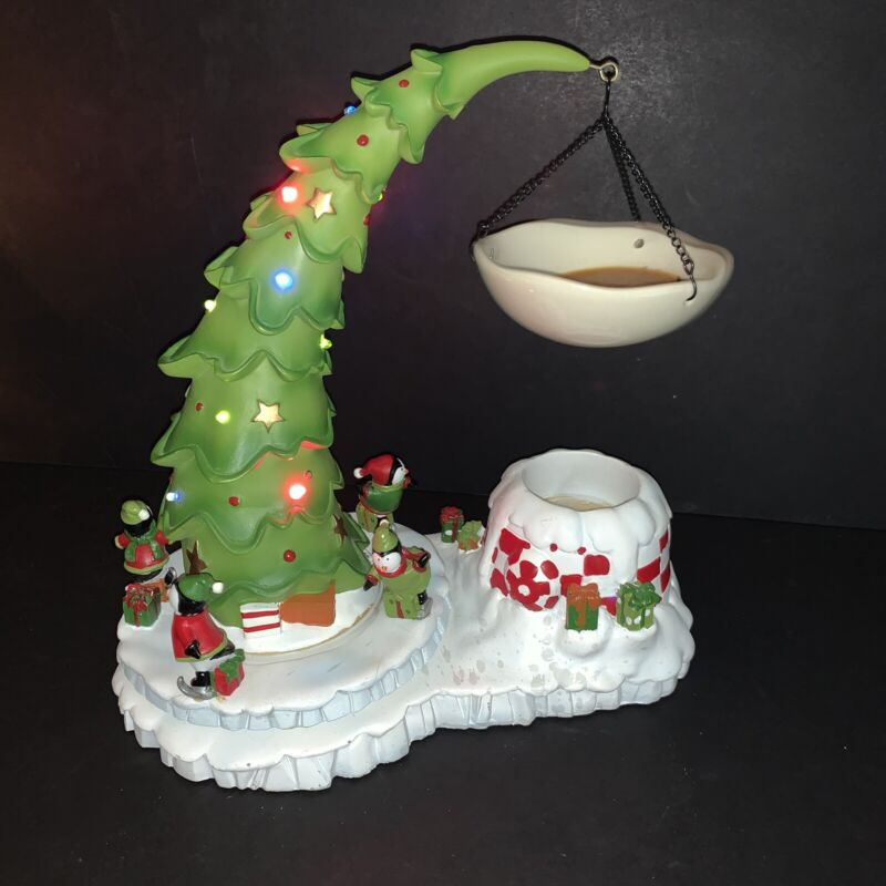 RARE Yankee Candle Hanging Tart Warmer PENGUIN Christmas Tree Musical Lights Up