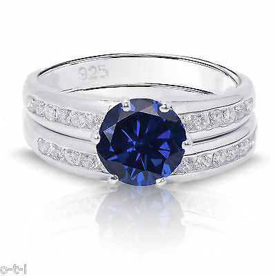 Brilliant Cut Blue Sapphire Engagement Wedding Genuine Sterling Silver Ring Set ()