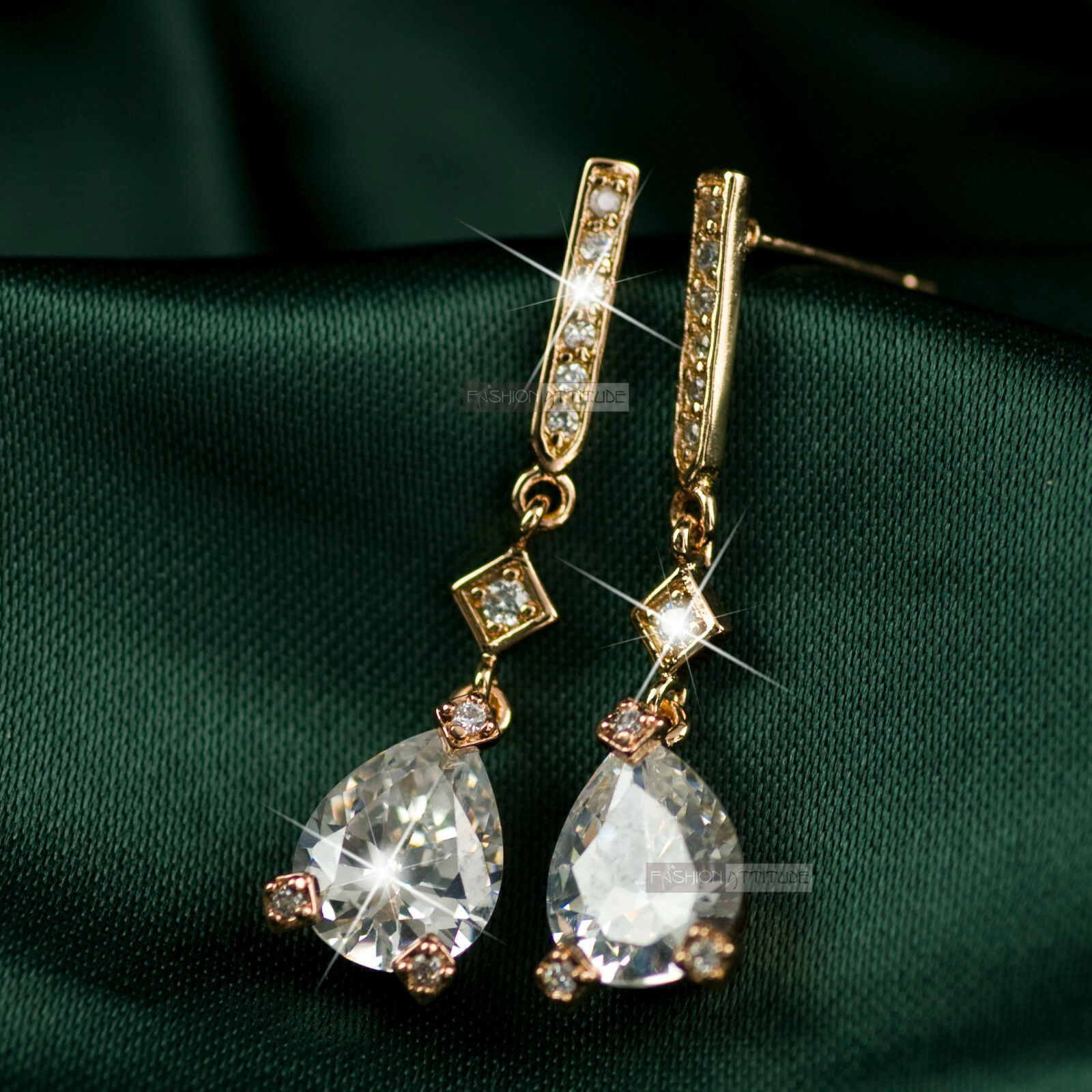 02334f48ab1fba 18k rose gold gf made with tear drop SWAROVSKI crystal stud earrings dangle