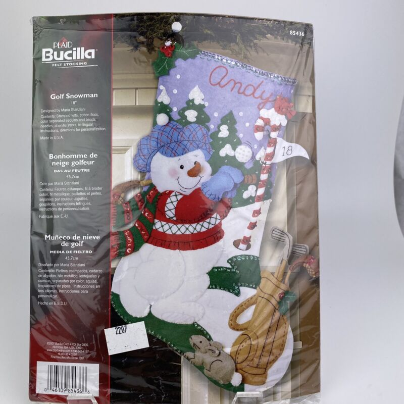 "BUCILLA Christmas Felt Stocking Craft Kit NEW 18"" Snowman Golf 85436 Holiday"