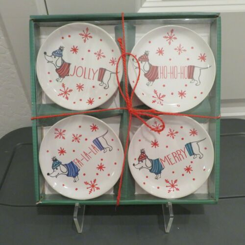 Set of 4 Dachshund Christmas Holiday Appetizer Ceramic Plates - New in Gift Box