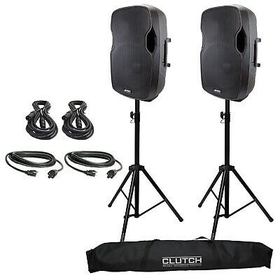 """Gemini AS-15P 15"""" Powered/Active DJ PA Speaker Pair + Cables + Stands"""