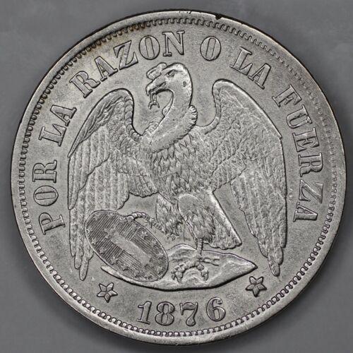 1876 REPUBLIC DE CHILE UN PESO AU DETAILS KM142.1 (8997)