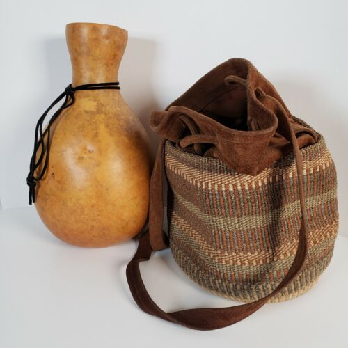 """Hawaiian Ipu Gourd Drum Hula Instrument 12"""" Tall w Suede and Woven Carrying Bag"""
